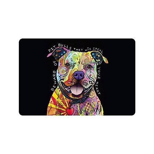 DDOBY Pitbull-Hund, Vorsicht vor Pitbulls, die Ihr Herz stehlen. Fußmatte für Innen- und Außenbereiche Fußmatten-Dekor Teppich rutschfeste Matten 23,6