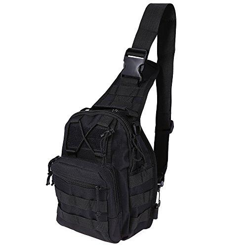 Mini Portable Crossbody petto borsa a tracolla zaino militare tattico zaino impermeabile piccola borsa messenger per escursionismo arrampicata ciclismo campeggio trekking viaggio tuta per fotocamera d Black