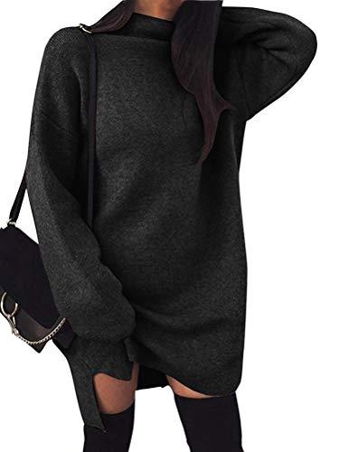 Minetom Damen Pullover Kleider Mode Minikleid Winterkleider Strickkleider Langarm Warm Oversize Stricksweat Strickpullover Lose Sweatkleid Schwarz DE 40 (Pullover Tunika Kleid)