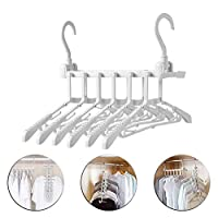 KOWTH 6 in 1 Magic Clothes Hanger Wardrobe Organizer Rack,Rotate Anti-skid Folding Hanger with Multifunction Space Saving and Cascading Features