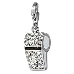 Idea Regalo - SilberDream Takasugi-Fischietto in argento Sterling 925, anti ossidazione-appositamente per braccialetto, collana e orecchini-per donne FC648