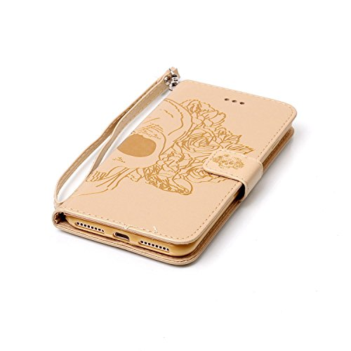 iPhone 6 Custodia Sottile, toyym iPhone 7 PU Custodia in pelle per carte di credito e contanti], Pretty fiore 3d Acchiappasogni Pressed Pattern Custodia a portafoglio Flip Chiusura Magnetica Book Desi Gold Skull