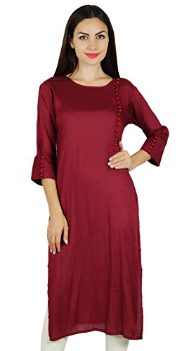 Bimba rayonne er kurta Kurti manches 3/4 formelle casual tunique blouse Bordeaux
