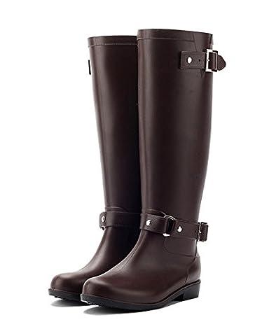 Minetom Women Fashion Buckle Over Knee Tight Slim Long Rain Shoes Martin Slip Resistant Waterproof Rain Boots Brown UK