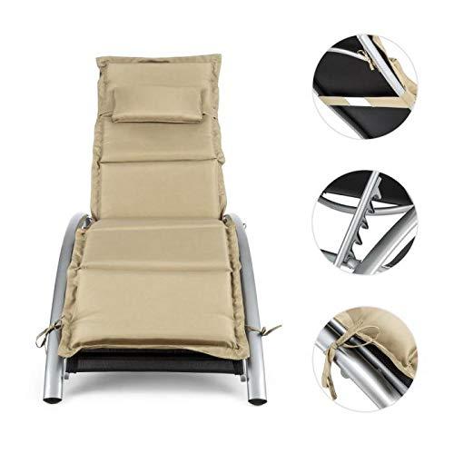 Blumfeldt intermezzo • sedia a sdraio • sdraio da esterni in alluminio • poggia braccia • schienale regolabile in 5 posizioni • resistente all'acqua • cuscino • imbottitura 5 cm • colore nero/beige