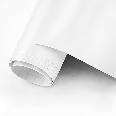 30,5cm x 10m Noir mat en vinyle adhésif permanent dos en vinyle pour Craft projets, cricuts, silhouettes et perfore blanc