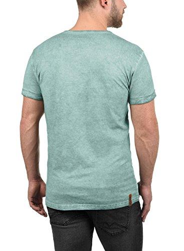 !Solid Tihn Herren T-Shirt Kurzarm Shirt mit Grandad-Ausschnit Aus 100% Baumwolle Slim Fit Meliert Blue Glow (1252)