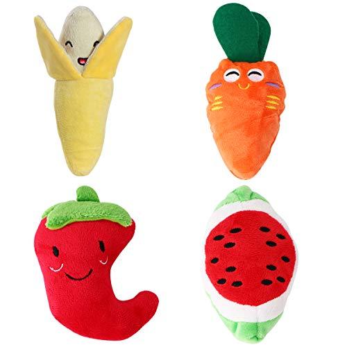 UEETEK 4 Packungen Haustier Hund quietschende Spielzeug Obst Gemüse Stil Plüsch kauen Spielzeug-Set für Katze Welpen