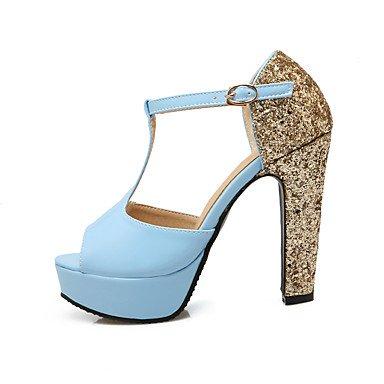 LFNLYX Sandales femmes Printemps Été Automne Autres chaussures Club Similicuir Talon Boucle Sequin Bleu Noir Rose Blue