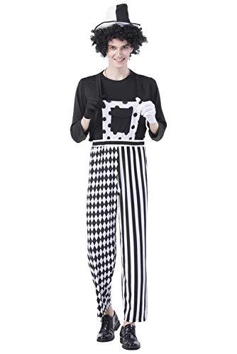 MingoTor Herren Zirkus Direktor Kostüm Joker Hosenträger Schwarz-Weiß Dresseur ()