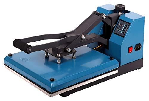 RICOO T438-AZ Transferpresse Textilpresse Textildruckpresse Klappbar Thermopresse Transferdruck Bügelpresse Textil T-Shirtpresse Sublimationspresse für Flexfolie und Flockfolie/Azur-Blau