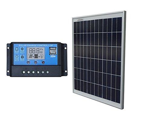 Eco-worthy Solar-Panel + PWM-Laderegler, 20 W, 12 V, 20 A, Akku-Ladegerät-Kit