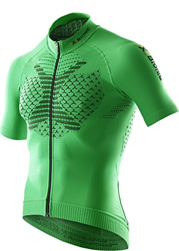 X BIONIC twyce Short Full Zip, Fahrrad Trikot Herren Green/Black