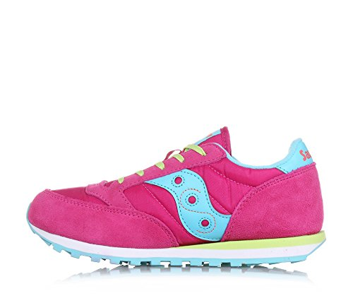 SAUCONY - Chaussure de sport fuchsia à lacets, en suède et synthétique, colorée, confortable et à la mode, fille, filles, femme, enfant Pink/Turquoise/Lime