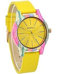 Reloj de las mujeres moda madera reloj analógico movimiento de cuarzo  correa de piel relojes para 332407fe48d1