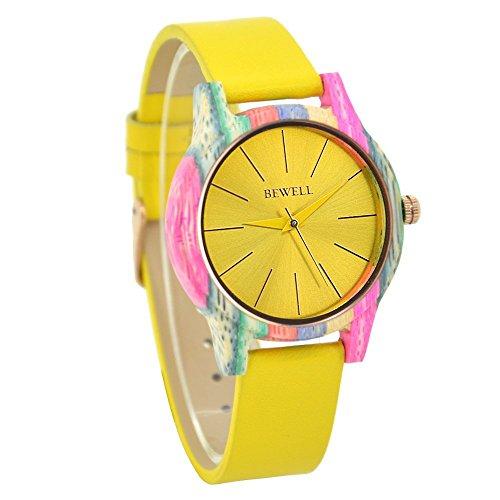 Bewell Minimalistische Lederarmband Bunte Bambus Damen Uhren Gelb Casual Analog Quarz Runde Holz Armbanduhr für Frauen