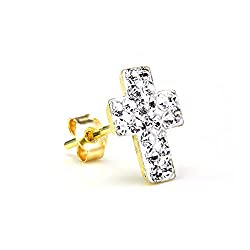 4cf5999b2 9ct Gold & CZ Crystal Encrusted Mens Single Cross Ear Stud Earring ...
