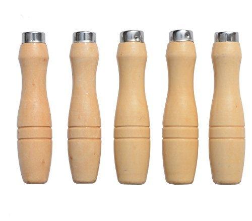 ACCOCO Holzfeile Griff mit starken Metallhalsbänder für 200mm - 350mm Feilen, Raspeln oder Holzmeißel (5 Pack) (Mittel)