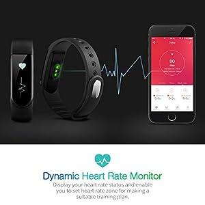 VicTsing Pulsera Actividad y Monitor de Frecuencia Cardiáco, IPx7 Nivel de Resistente al Agua, Bluetooth 4.0, Podómetro, Monitor de Sueño, Control Remoto de Móvil para iOS 7.1 o Superior y Android 4.4 o Superior, iPhone 7/iPhone 6,etc.
