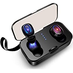 SYOSIN Ecouteur Bluetooth Oreillette sans Fil Sport, Bluetooth V5.0 Appariement Automatique Étanche IPX6 HiFi Stéréo Casque avec Microphone HD Anti-Bruit Léger Écouteurs, 25 Heures Playtime