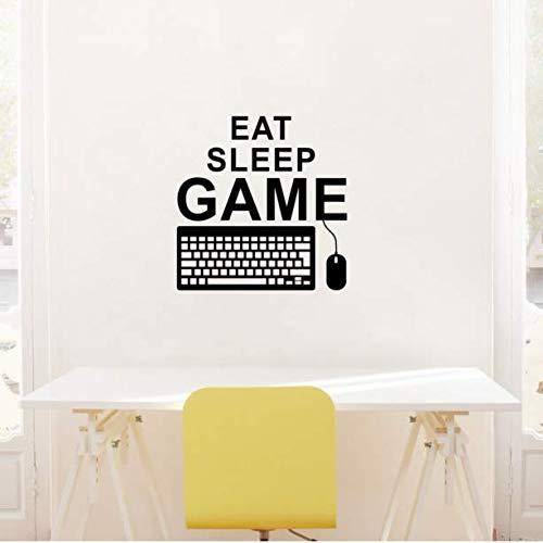Wangyy Eat Sleep Spiel Gaming Quote Wandtattoo Pc Tastatur Maus Controller Gamer Playroom Boy Schlafzimmer Dekor 41X42 Cm
