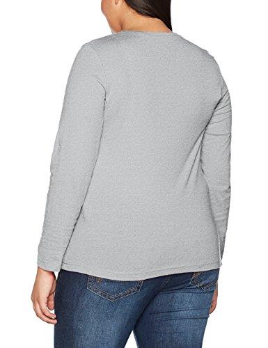 ULLA POPKEN Basic Langarmshirt Rundhals, Maglietta a Maniche Lunghe Donna Grau (Grau 11)