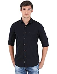 Sting Navy Blue Solid Full Sleeve Casual Shirt
