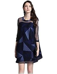 3bb04f19a917 Vestito aderente Donna Abito ampio O Collo Geometria manica 3 4 Stampa Abito  a trapezio Maglia a patchwork trasparente Mini abito corto…