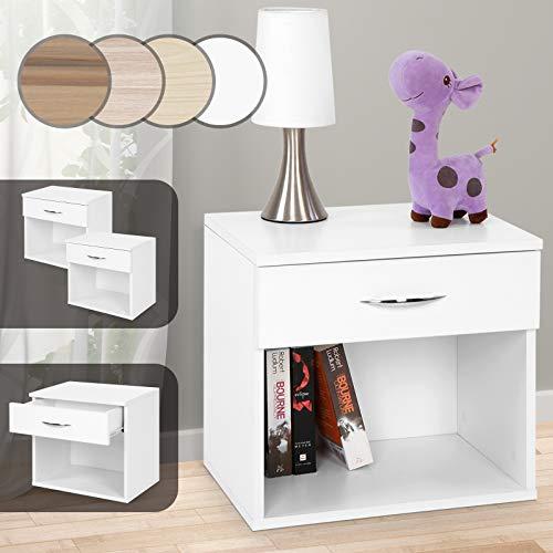 Miadomodo - Table de chevet avec 1 tiroir et espace de rangement - Blanc - 2 pièces