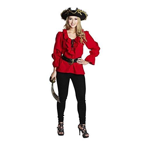 Pirat Rüschen Bluse (NEU Damen-Bluse Piratin, mit Rüschen, rot, Gr.)