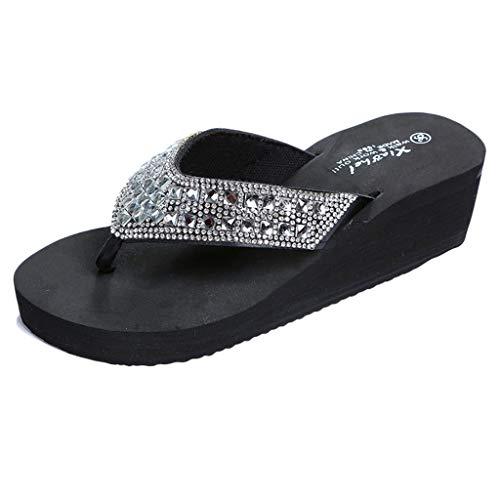 COZOCO Frauen Sommer Hausschuhe Mode Strass Keile Flip Flops Damen Casual Beach Schuhe(schwarz,40 EU)