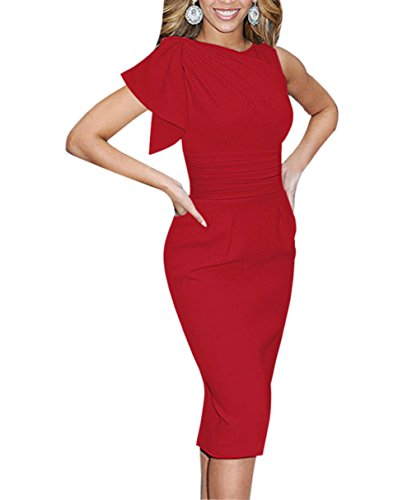 Paskyee Damen Berühmtheit Elegant Geraffte Prom Bodycon Party Abendkleid schlank Business-Kleid