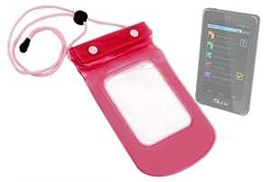 Pochette housse imperméable pour tablette tactile / appareil mobile enfant Kurio Touch 4S (Android 4.2.2) de Gulli - rose, cordon réglable