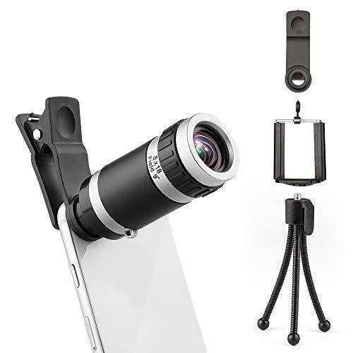 Mini Telescopio Monocular para Teléfono, Fmobonus Lentes para Móvil 8x18 con Mini Trípode Objetivo, Lente Zoom Óptica con Clip-On para iPhone, Samsung Galaxy, Huawei, Sony, iPad ect