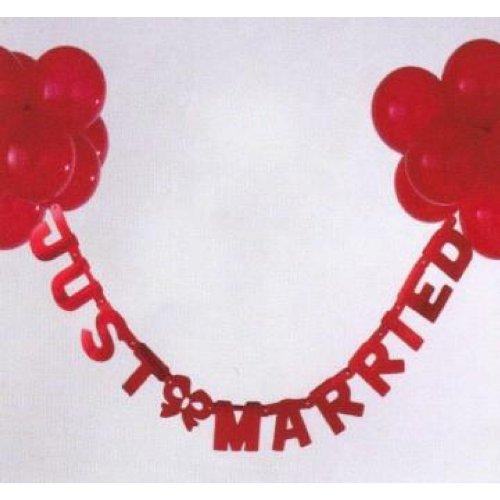 Schriftband Just married rot 1,25m lang, mit roten Ballons (Hochzeit)