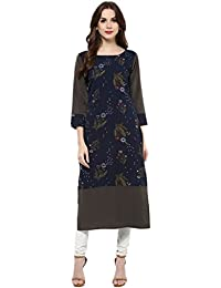 [Sponsored Products]Ziyaa Women's Multicoloured Boat Neck With 3/4 Sleeve Crepe Digital Print Straight Kurta (ZIKUCR448)