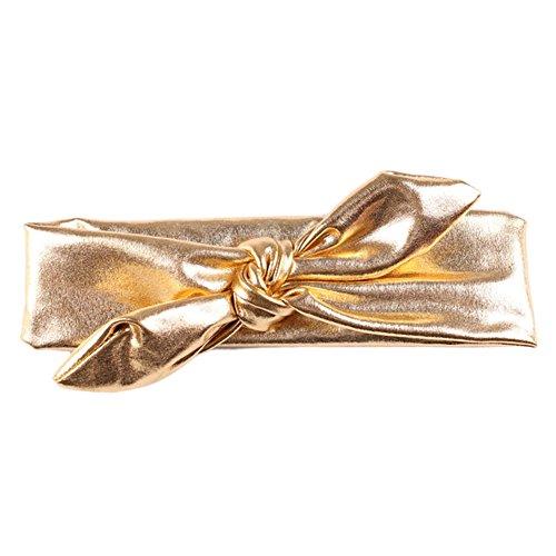 CAOLATOR Haarbänder Kinderkopfschmuck Bronzing Bogen Baby Haarband Weich und Bequem Baby Stirnband Kopfband Haarschmuck Gold