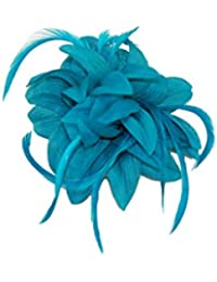 Striking teal flower fascinator / corsage with pointed petals and feather tendrils set on a hair clip and brooch pin. Ideal for a wedding, christening and other special occasions.