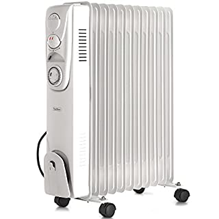 VonHaus Oil Filled Radiator 2.5KW 11 fin – Portable Electric Heater – 3 Power Settings, Adjustable Temperature/Thermostat, Thermal Safety Cut off & 24 Hour Timer – White 2500W