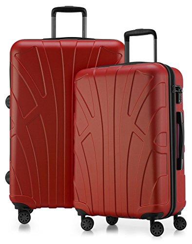 Suitline - 2er Koffer-Set Trolley-Set Rollkoffer Hartschalen-Koffer Reisekoffer, TSA, (66 cm, 76 cm), 100% ABS, Matt, Rot