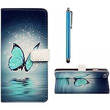 Sony Xperia E4 Funda,MUTOUREN modelos de moda Dibujo del arte colorido pintado PC del tirón del cuero libro de la carpeta magnética Caso de la cubierta protectora con Desmontable mano & ranuras para tarjetas & soporte de funciones para Sony Xperia E4-azul Stylus