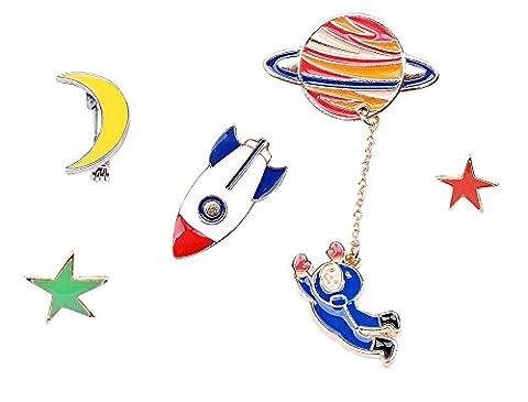 Brosche Anstecknadel Anstecker Pins Metall Brosche Astronaut Mond Stern 5 Stück Set