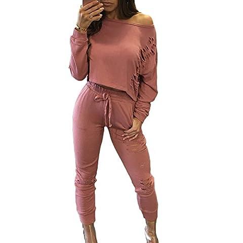 Tomayth Femme Casual 2 Pièce Sport Sexy épaule Survêtement Pull à Manches Longues Sweatshirt Shirt Hauts+Pantalons (S, Rose)
