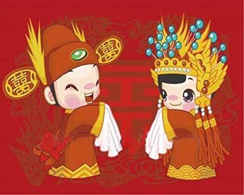 WAZHCY Malen nach Zahlen für Junior Home Decor chinesische Hochzeit Braut und Bräutigam DIY Malen nach Zahlen für Erwachsene gesetzt 40X50CM Ohne Rahmen -
