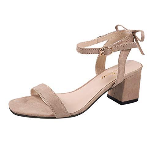 MORETIME Sandali Sposa,Moda Donna Casual Solido Fibbia Cinturino Tacco Quadrato Sandali Med Scarpe Tacco