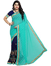 Pisara Women's Georgette Embroidered Half N Half Party Wear Saree,Turquoise & Blue