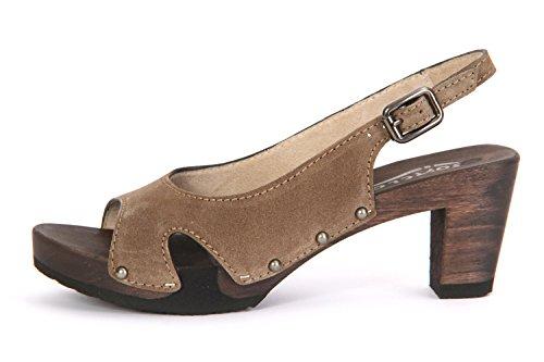 Softclox Sandalette mit Holzboden Brown