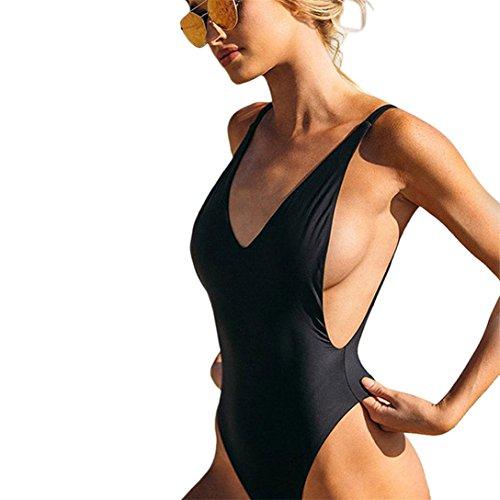 Kword costume da bagno donna sexy a tinta unita, costume intero, costumi da bagno bikini imbottito color sabbia, costume da bagno da spiaggia (nero, s)