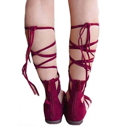Fulltime®Chaussures femmes bottes montantes sandales Casual bohème de l'été Rouge