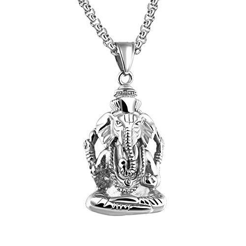 PAURO Herren Edelstahl Ganesha Elefanten Gott des Erfolgs Glückliche Anhänger Halskette Vintage Silber